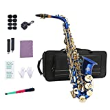 EastRock Students Beginners Alto Saxophone Blue Laquer Gold Key E Flat with Hard Case,Mouthpiece,Mouthpiece Cushion Pads,Cleaning Cloth&Cleaning Rod,White Gloves,Alcohol Pads,Strap