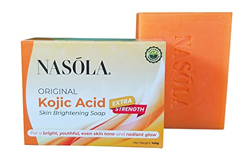 Maximum Strength Kojic Acid Soap for Face & Body - Nasola Original Kojic Acid Skin Brightening Soap (140g) with Coconut Oil & Tea Tree Oil for Dark Spots, Hyperpigmentation, Acne Scars, Age Spots, Melasma & Blemishes | SLS-free, Paraben-free