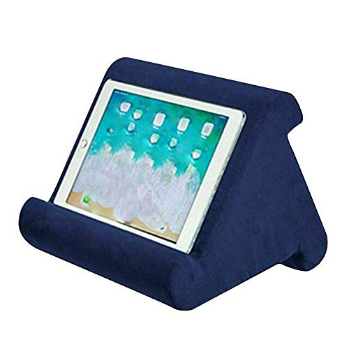 Multi-Angle Cushion for Tablets, Pillow Stand for iPad Phone Holder, Soft Pillow for Tablets, Smart Phones, Digital Book Readers, Books and Magazines (Navy)