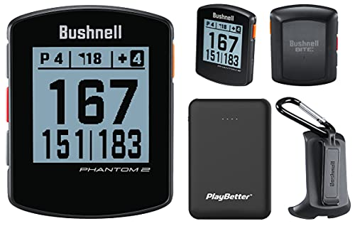 Bushnell Phantom 2 (Black) Handheld Golf GPS Power Bundle | Includes PlayBetter Portable Charger | 2021 Golf GPS Device | Built-in Magnetic Mount, 38,000+ Courses, Accurate Distances