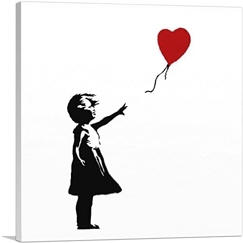 ARTCANVAS Girl with Balloon White Background Square Canvas Art Print by Banksy 18 x 18 0 75 product image