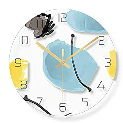 XMSIA Decorative Wall Clock Non-Ticking 12''Non-Ticking Silent Wall Clock Round Glass Home Decor Clock for Restaurant Office Decor Silent Battery Operated for Living Room (Color : C, Size : 12'')