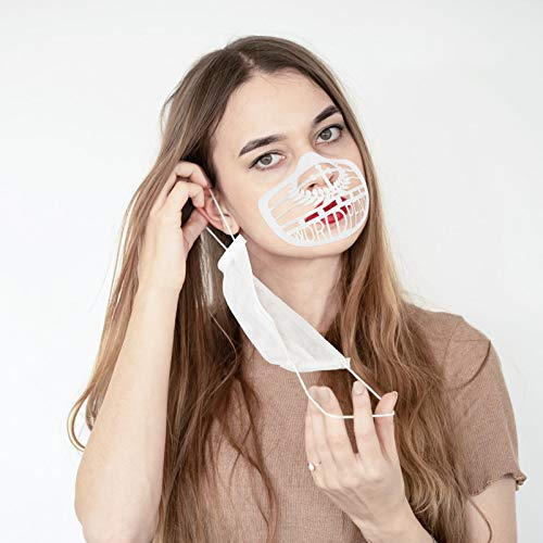 HEALLILY 10 Pcs 3D Face Inner Bracket Lipstick Protection Bracket Mouth Cover Inner Support Frame Nose Pads for Breathing Smoothly and Preventing Makeup Removal White