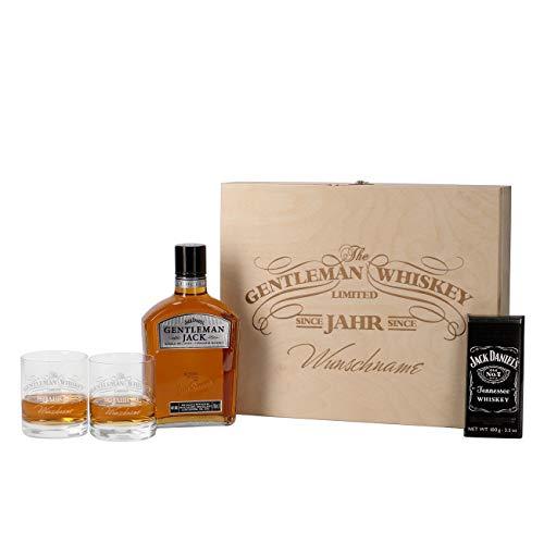 Herz & Heim® 5-tlg Whiskey Set 2 Gläsern mit Gravur, Jack Daniels Schweizer Schokolade, Gentleman Jack + Holz-Schatulle