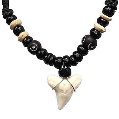 Hawaiian Polynesian Maori Surfer Beach Tribal Surfing Jewelry Real Shark tooth Black/white bone wood bead Protection Amulet boy's Men pendant necklace Luck Charm Talisman choker Black Adjustable Cord