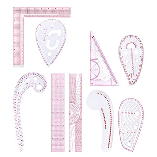 EXCEART 9 Unids Conjunto de Regla de Costura Métrica Patrón de Curva Francesa Kit de Regla Plantilla de Dibujo Regla de Medición de Moda para Sastre Artesanía de Bricolaje Vestido de Ropa