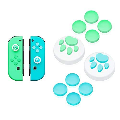 【Nintendo Switch 対応】アナログスティックカバー+方向キーキャップ JoyCon専用カバー 保護カバー 猫 肉球 アシストキャップ 方向キーカバー 10個セット どうぶつの森(ブルー/グリーンA)