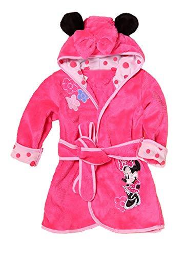 Minnie Mouse - Rosa - Bata - Albornoz - Dormitorio - Noche - Pijama - niña - Forro Polar Suave - con Capucha - Personajes