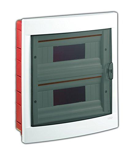 Unterputz Kleinverteiler 24 Module / Sicherungskasten / Verteilerkasten Unterputz IP40, 2-reihig mit Hutschiene + PE/N Klemmen