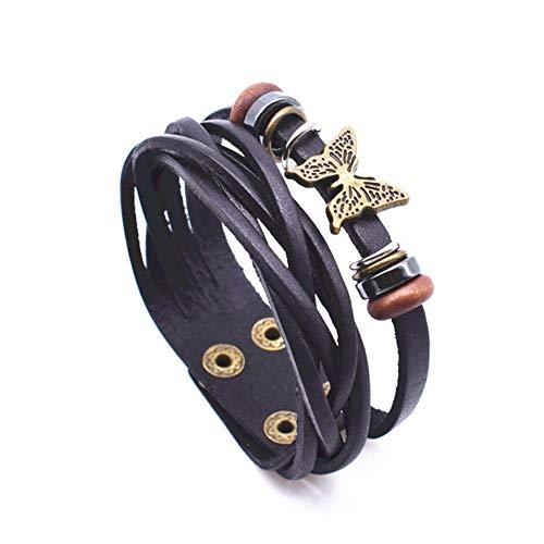 DLIAN armbanden houten kralen met vlinder bedelarmband bruine lederen armbanden voor vrouwen dubbellaags verstelbare knop armband sieraden