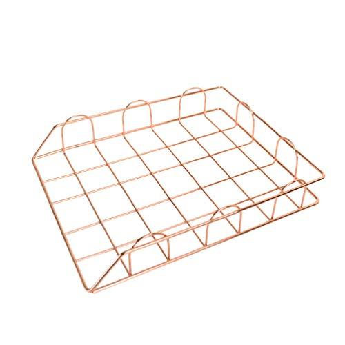 NUOBESTY Stapelbarer Desktop-Datei-Organizer Metallgitter Dokument Briefkastenhalter Tisch Organizer für Home-Office-Schule (Roségold)