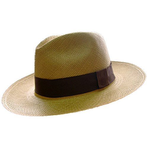 Chapéu Panamá Unisex Gamboa, Modelo Fedora Outback Genuíno na Cor Castanho Claro