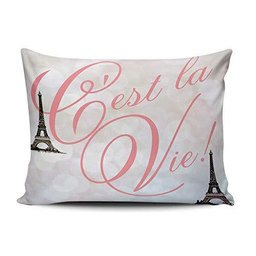 SUN DANCE Fundas de almohada para dormitorio, decoración de la torre de París, color gris francés, funda de cojín con estampado de una cara Queen 50 x 76 cm