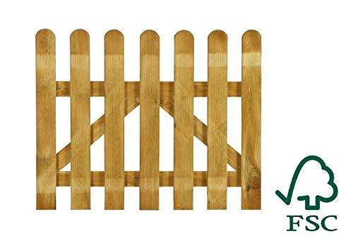 ITALFROM Cancelletto in Legno con Doghe di Pino per Steccato - Dimensioni: L 100cm x H 80cm