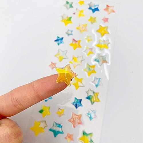PMSMT 1 Hoja de Pegatinas de Bricolaje de Cristal de Estrella Brillante Decorativas para álbum de Recortes, Diario, Etiqueta de Palo, Suministro para Estudiantes, Regalo para niños