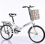 GYXZZ Bicicleta de Primera Clase Ciudad Plegable Bicicleta 20'Confort Saddle Saddle Cruiser Bike con la Cesta,Blanco