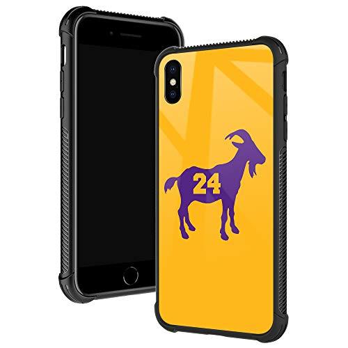 iPhone XR Hülle, Basketball 24 Ziege iPhone XR Hüllen für Jungen/Herren, Fashoin Design Vier Ecken, Stoßdämpfung, Anti-Rutsch-Streifen, weicher TPU-Stoßrahmen für iPhone XR 6,1 Zoll, Gelb / Violett