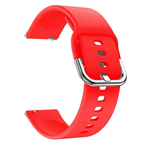 ZLRFCOK Correa de silicona suave para reloj Samsung Galaxy Watch 42 mm Active2 40 mm para Galaxy Watch 3 41 45 mm para Huami para Amazfit (color de la correa: rojo, ancho de la correa: 20 mm)