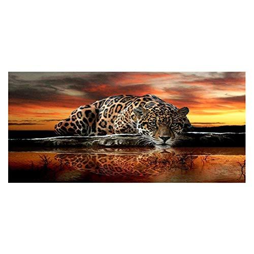 Sunnay Diamond Painting Set,Großer Leopard, 5D Diamant Painting Art Full Stickerei Groß Bilder DIY Diamonds Malerei,45 x 90 cm