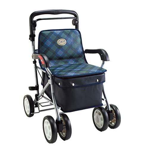 Einkaufstrolleys Zusammenklappbare Einkaufswagen Walker Walking Auxiliary Car Crutches Einkaufswagen kann sitzen können tragen Gewicht 100kg Liegestuhl Senden ältere Roller Eink