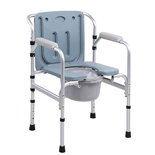 RAXST Silla con Inodoro con reposabrazos abatibles, Altura Regulable 44 –53cm, con Tapa, para el WC de Aluminio para Adultos discapacitados Ancianos
