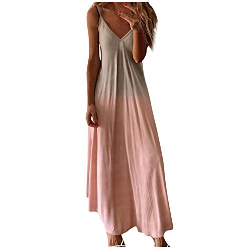 Dresses for Women Casual, Women's Gradient V Neck Long Maxi Dress Sleeveless Plus Size Summer Party Cami Long Dresses Pink