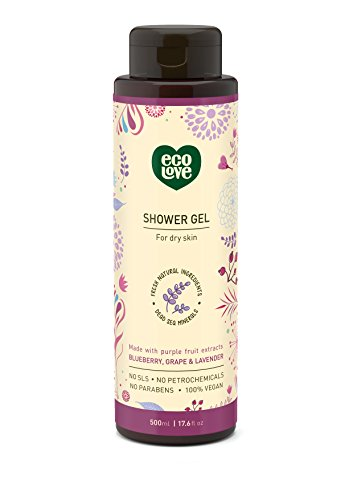 ecoLove Moisturizing Body Wash for Dry Skin with Organic Blueberry Grape and Lavender, Natural Body Wash for Women Men Kids, Cruelty Free and Vegan Shower Gel, 17.6 oz