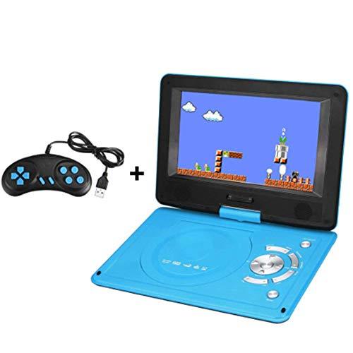 DVD-speler, 9,8 inch draagbare oplaadbare DVD-speler met spel FM-radio en TV AV monitorkaartlezer, blauw