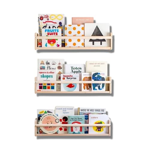 Mami - Librería Montessori de madera para niños, 3 estantes para dormitorio infantil, diseño de cómics, 100 % fabricado en Italia, 3 estantes