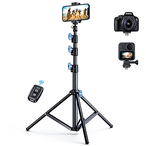 Andobil Upgraded 60'' Phone Tripod Stand with Remote [Sturdy & Portable], Universal Detachable Selfie Stick Tripod for iPhone 12 Pro Max/11/Xs/Xr/X/8 and Samsung S21/S20/Note20/10, Camera,GoPro