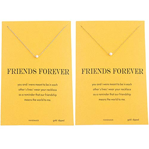 Dainty Women Shell Pearl Choker Necklace Friendship Gift Pack of 2