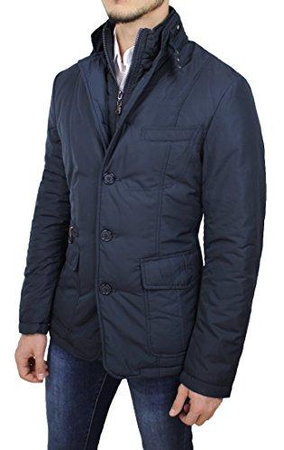 Giubbotto Piumino Uomo Sartoriale Blu Casual Elegante Giacca Invernale Slim Fit (L)