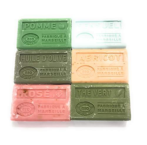 Label Provence-Lot de 6 savons de Marseille à l'huile d'olive bio-parfum:thé...