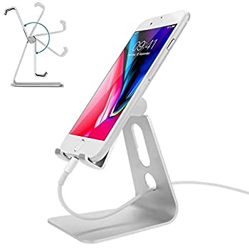 Adjustable Cell Phone Stand,Ahere Multi-Angle Aluminum Desktop Cell Phone Cradle Dock Stand for iPhone 6 6s 7 8 X Plus Samsung Galaxy All Android Smartphone Tablets,Silver