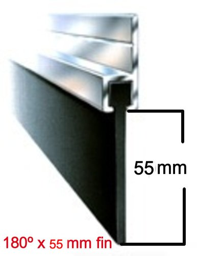 7FT IMPERIAL X 55 mm x 180º Aluminium And Rubber Draught Excluder Seal For The Bottom Of A Garage Door