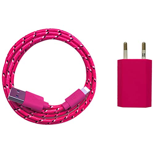 USB Netzteil 5V 1A + 2m Nylon USB Ladekabel Datenkabel Set kompatibel mit [Apple iPhone 10 X 8 8 Plus 7 7 Plus 6S 6S Plus 6 6 Plus 5S 5C 5 SE, iPad | iPod] pink