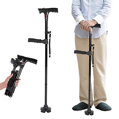 Clever Cane with LED Light,Travel Adjustable Folding Canes, Security Alarm, Two Cushion Handles - Foldable, Light Weight Walking Stick for Arthritis Seniors Disabled and Elderly