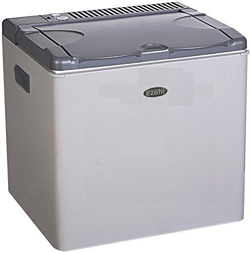 Ezetil lautlose Absorber Kühlbox/Mini Kühlschrak 50 L, Autokühlbox mit 3 Wege Kühlsystem (12V Auto, 230V Stromnetz und Gasbetrieb), Autokühlschrank für 72 Getränkedosen, inkl. Eiswürfelbehälter