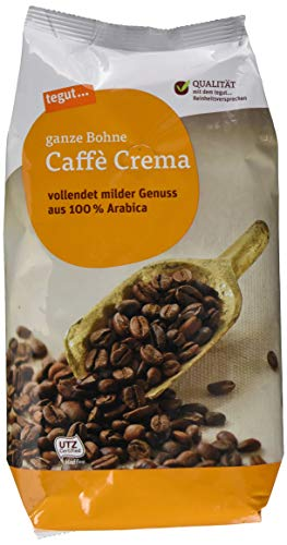 tegut... Café Crema ganze Bohne, Arabica Kaffee, 1 x 1kg