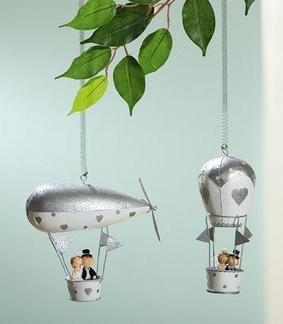 GILDE metalen ballon met veerhanger, bruidspaar, cadeau voor de bruiloft