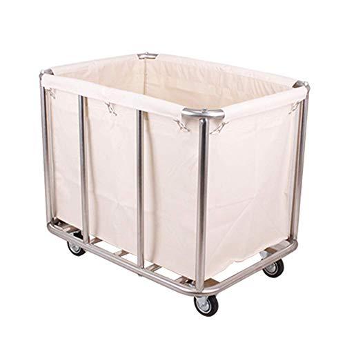 WGWJ Aufbewahrungswagen aus Metall, Rollwagen mit Rädern Hochleistungsroll-Wäschekorb mit herausnehmbarem Taschenrahmen in Übergröße (Farbe: braun)