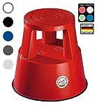 Wedo 212202 Rollhocker Step aus Kunststoff, Höhe 43 cm, Tragkraft 150 kg, rot