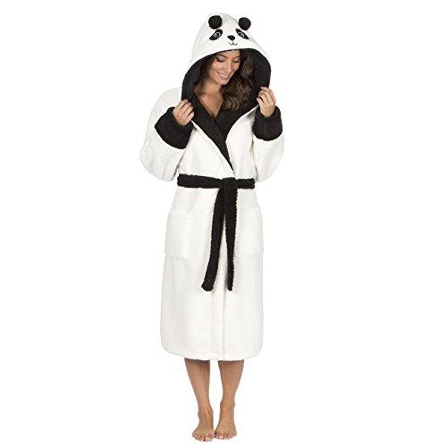 Ladies Womens Soft Fleece Novelty Snuggle Panda Hooded Robe Dressing Gown Animal Panda XL