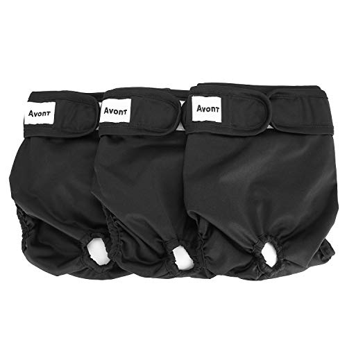 "Avont 3 Packs - Pañales Lavables para Perras, Reutizables y Duraderos para Perros Hembra, Female Dog Diapers Altamente Absorbentes -L, 18""-24"" Cintura, Negro"