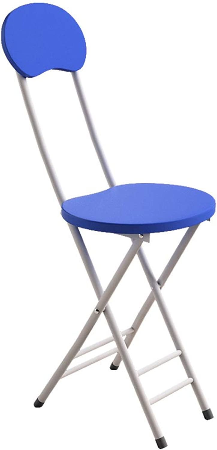ZAHOYONGLI Chairs,Folding Chairs Chairs Triple Braced Metal Folding Chair Seating Double Brace Stackable Round Stool Durable Strong (Capacity   bluee, Size   25  45  75cm)