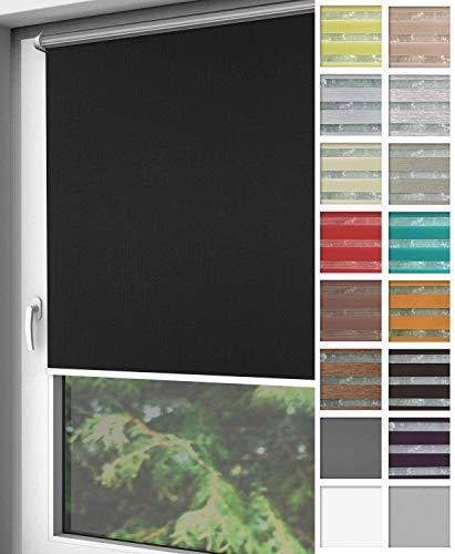 Home-Vision® Verdunkelungsrollo Klemmfix, ohne Bohren mit Klämmträgern, Fensterrollo, Seitenzugrollo, Verdunklungsrollo, Lichtundurchlässig Thermorollo (Schwarz, B130cm x H150cm)