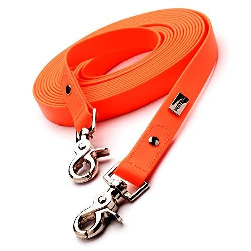 PetTec Schleppleine 5m aus Trioflex™, Orange Wetterfest, Wasserabweisend, Robuste Hundeleine