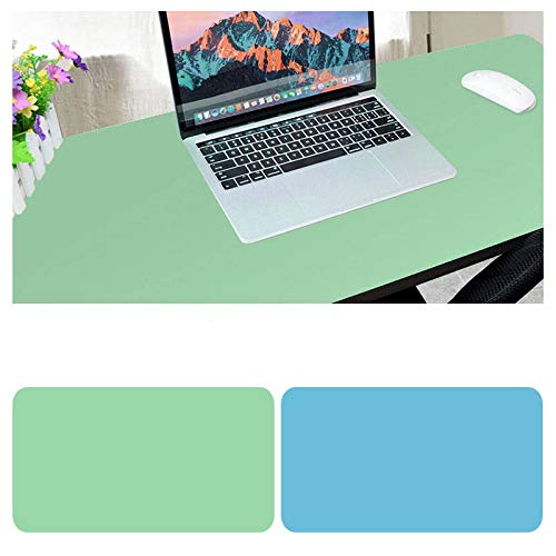 OUYAWEI dubbelzijdig bureau muismat uitgebreid waterdicht microvezel gaming toetsenbord muis pad voor office home school Size: 30x25 Light green + lake blue