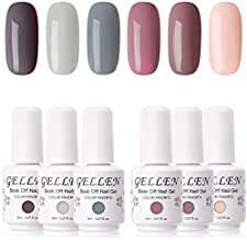 Gellen Gel Nail Polish Kit- Nude Grays 6 Colors, Popular Nail Art Design Classic Pastels Natural Shades Gel Polish Home Gel Manicure Set