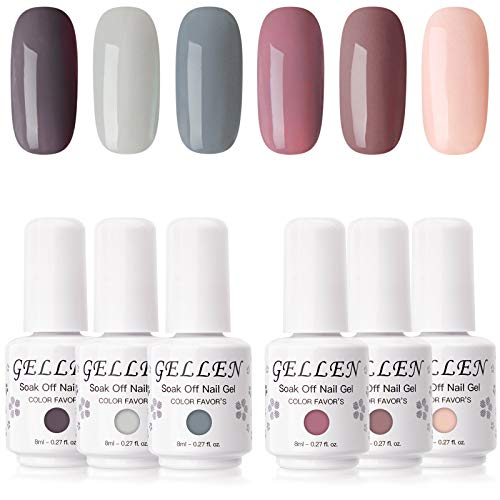 Gellen Gel Nail Polish Set - Nude Grays 6 Colors, Popular Nail Art Colors UV LED Soak Off Nail Gel...